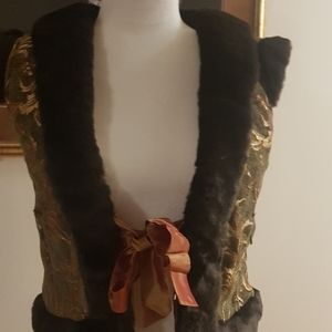 Brocade/ silk embroidered vest with a knot infront